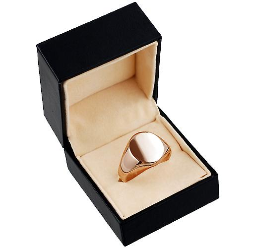 9ct rose gold gents plain oval signet ring 16x14mm