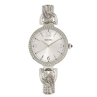 Bertha Sarah Chain-Link Watch w/Hanging Charm - Silver