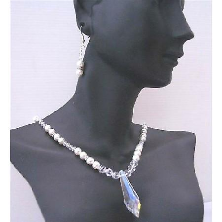 Handcrafted Swarovski Clear Crystal White Pearls Party Wedding Jewelry