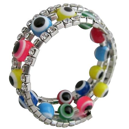 Multicolor Beads Evil Eye Bracelet Three Stranded Rhinestones Bracelet