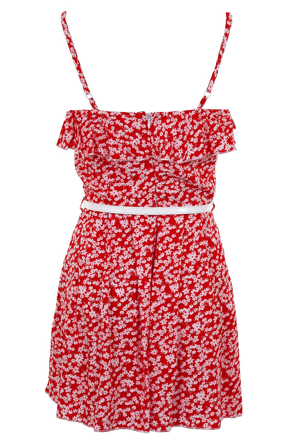 Ladies Sleeveless Frill Floral Belted Cami Women's Summer Shorts Party Playsuit