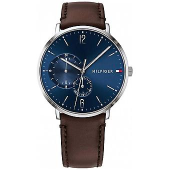 Tommy Hilfiger Men's Blue Dial Brown Leather Strap 1791508 Watch