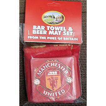 Manchester United Cotton Bar Towel and 10 Beermats (pp)