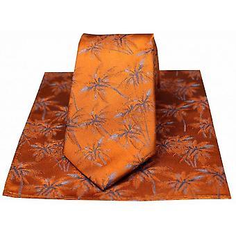 David Van Hagen Palm Tree Krawatte und Einstecktuch Set - Navy/Fuchsia