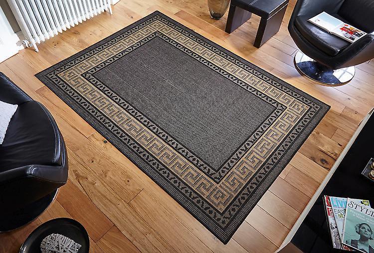 Grekiska Key Flatweave svart mörk beige förregling viktiga gränsen på en svart marken rektangel mattor Plain/nästan slätt mattor