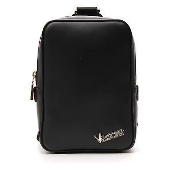 فيرساتشي أسود الجلود حقيبة تحمل على الكتف