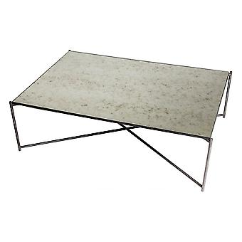 Gillmore Space Antiqued Glass Rectangular Coffee Table With Gun Metal Cross Base