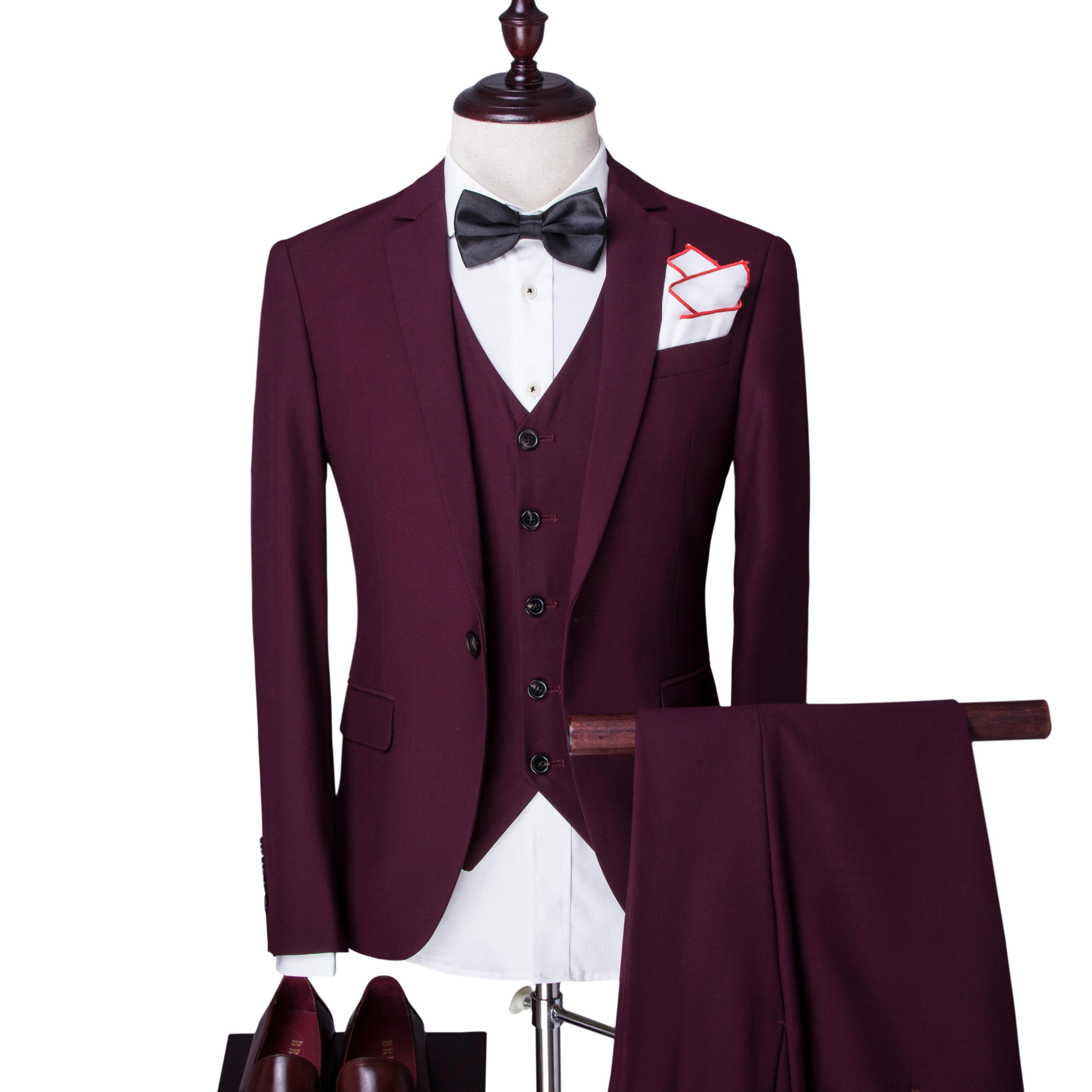 Allthemen Mens Single Breasted Slim Fit One Button Three Piece Men&s Suit with Vest Wedding Prom Party