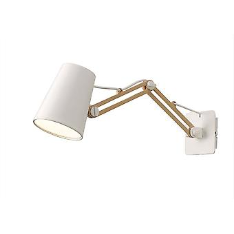 Mantra Looker Wall Lamp Switched 1 Light E27 Double Arm, Matt White/Beech