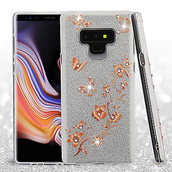 ASMYNA Butterflies in Spring Flowers Full Glitter Hybrid Protector Cover (w/ Diamonds) for Galaxy Note 9