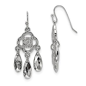 Silver-tone Shepherd hook Dangle Earrings