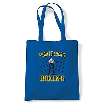Mighty Micks Boxing Rocky Movie Inspired Tote | Reusable Shopping Cotton Canvas Long Handled Natural Shopper Eco-Friendly Fashion