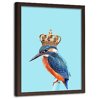 Picture In Brown Frame, Kingfisher In The Crown