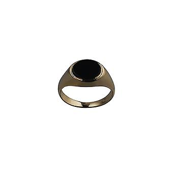 9ct Gold 10x8mm across finger Onyx Signet Ring Size J