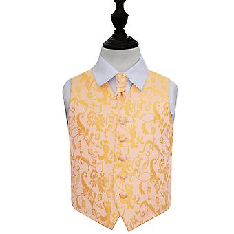 Boy's Gold Passion Floral Patterned Wedding Waistcoat & Cravat Set
