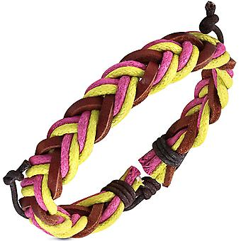 Urban Male 'Sunny' Braided Men's Surfer Bracelet in Yellow, Pink & Brown Leather & Cord