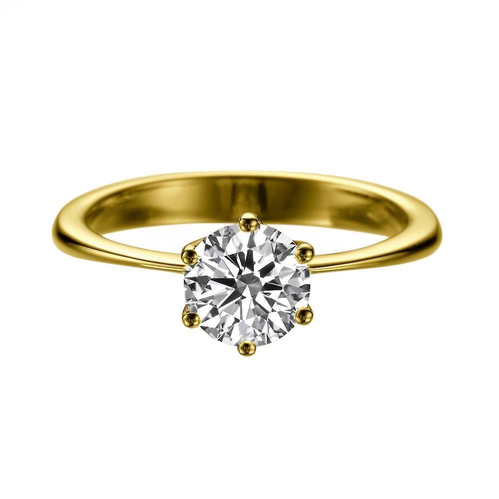 1.7 carat H SI2 Diamond Engagement Ring 14K jaune or Solitaire classique 6 lames