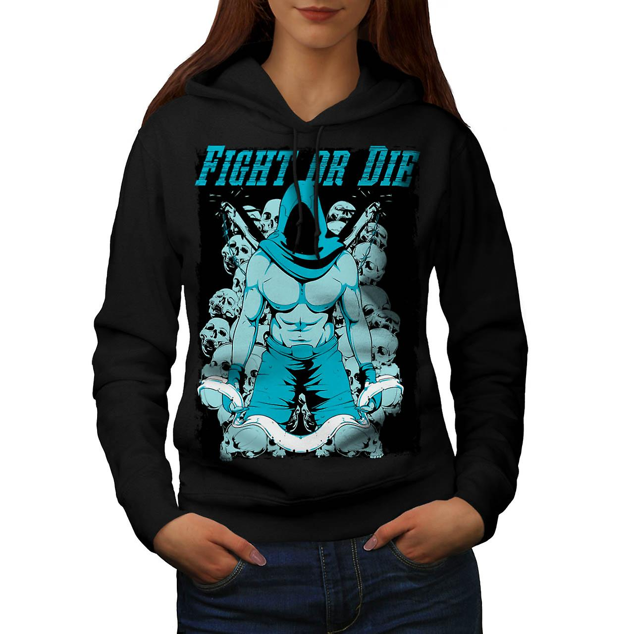 Fight or Die Warrior Battle Brawl Women Black Hoodie | Wellcoda
