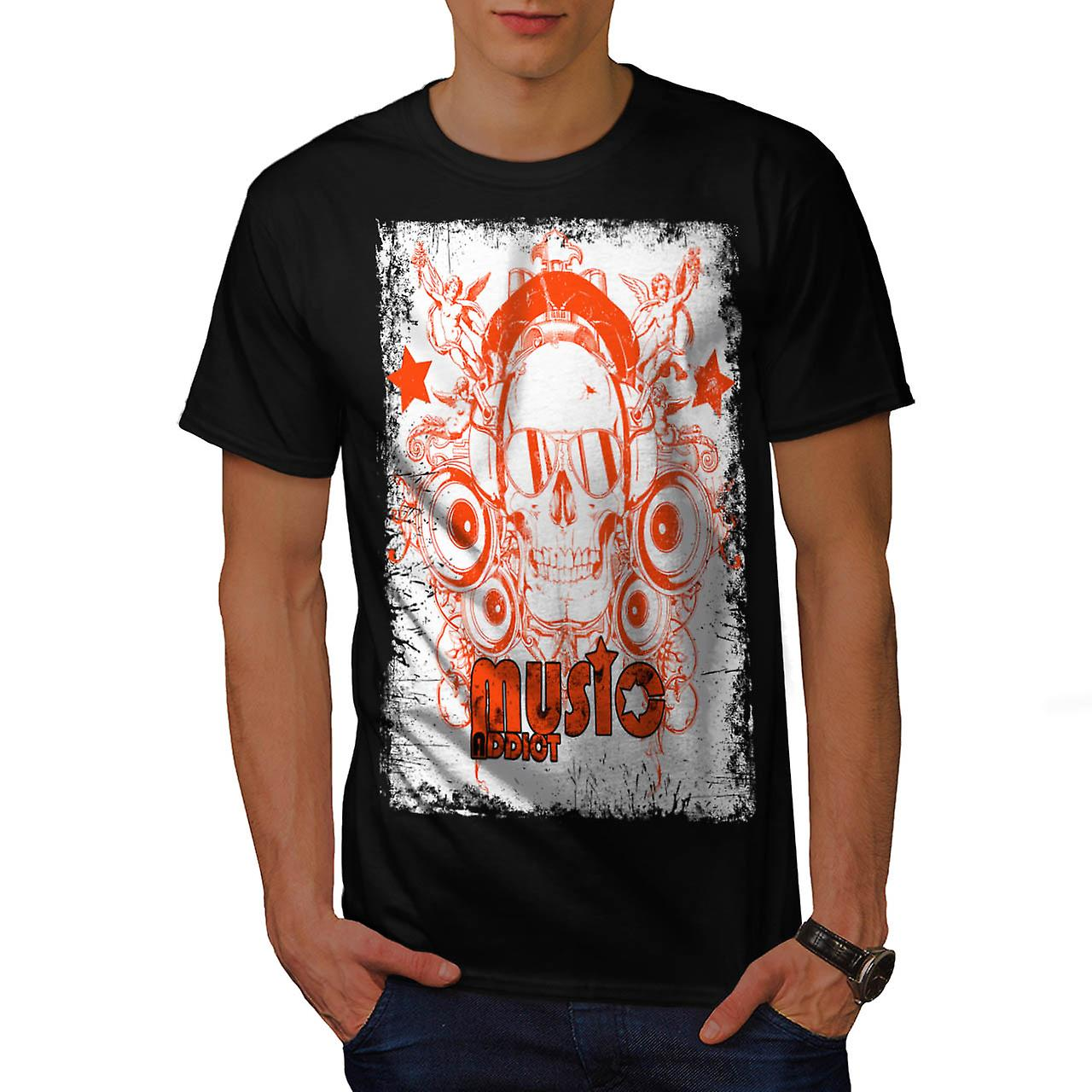 DJ Music Addict Beats Rave Skull Men Black T-shirt | Wellcoda