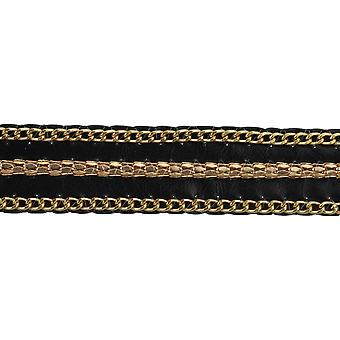 Faux Leather Belting W/Brass Colored Chains Trim 1