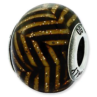 Sterling Silver Polished Antique finish Reflections Italian Brown Stripes With Glitter Glass Bead Charm