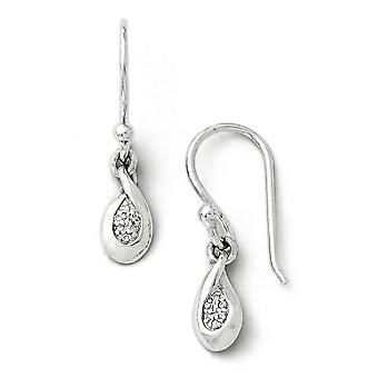 Sterling zilver wit Ice Diamond Earrings -.04 dwt
