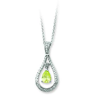 Sterling Silver August CZ Necklace - 18 Inch