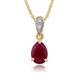 9ct Yellow Gold 0.72ct Ruby & Diamond Pear Shaped Pendant on Chain