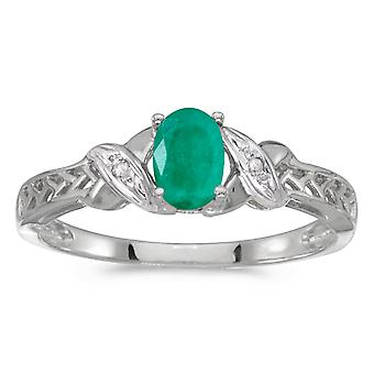 14 k hvitt gull ovale Emerald og Diamond Ring