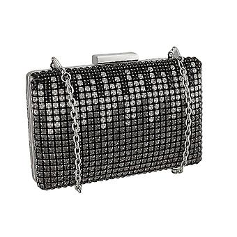 Rhinestones And Snakeskin Clutch Purse w/Detachable Chain