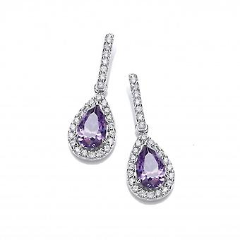 Cavendish French Ornate Silver and Amethyst CZ Teardrop Earrings