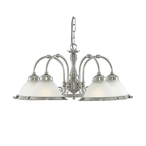 Searchlight 1045-5 American Diner Satin Silver 5 Light Ceiling Pendant