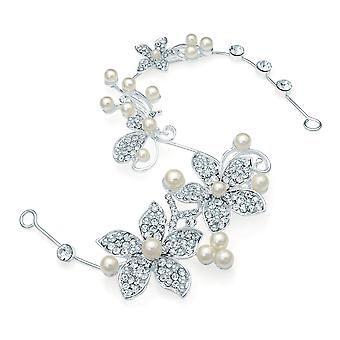 Silver Colour Shapeable Hair Wire with Crystal & Cream Faux Pearl Floral Design