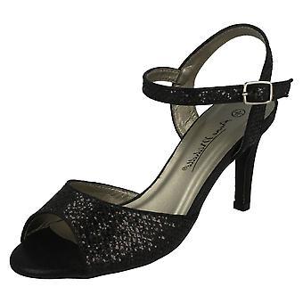 Ladies Anne Michelle Glitter Peep Toe Sandals F10467
