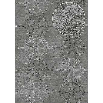 Graphic wallpaper Atlas SIG-585-4 non-woven wallpaper smooth, shimmering in the maritime design grey dust grey anthracite white 5.33 m2