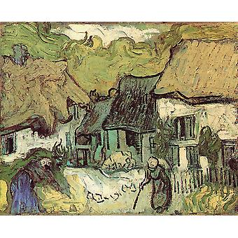 Vincent Van Gogh - Thatched Cottages in Jorgus, 1890 Poster Print Giclee