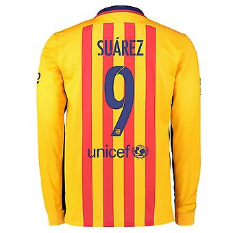 2015-2016 Barcelona Long Sleeve Away Shirt (Suarez 9)