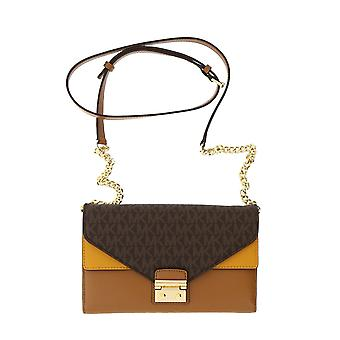 Michael Kors Sloan Large Leather - Wallet-on-chain  - Brown/Acorn/Marigold - 32F7GSLF3B-249