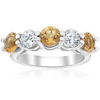 2 1 / 2ct Citrine & diamant 5-Stone Ring 14K or blanc