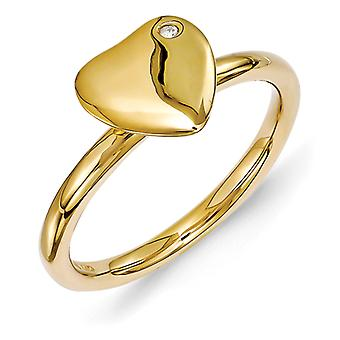 2.25mm Sterling Silver Stackable Expressions Gold-plated Heart Diamond Ring - Ring Size: 5 to 10