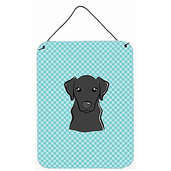 Checkerboard Blue Black Labrador Wall or Door Hanging Prints