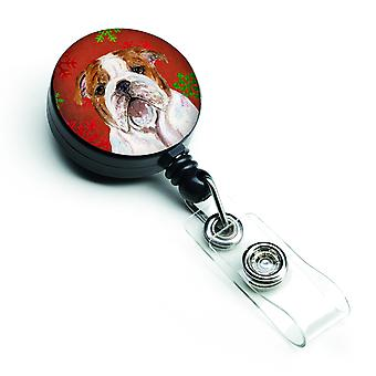 Bulldogge englische rote und grüne Schneeflocken Urlaub Weihnachten versenkbare Abzeichen Ree
