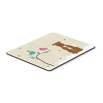 Christmas Presents between Friends Staffordshire Bull Terrier Brown Mouse Pad, H