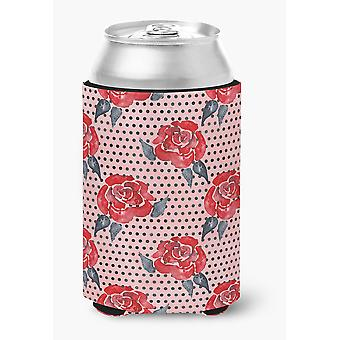 Watercolor Red Roses and Polkadots Can or Bottle Hugger
