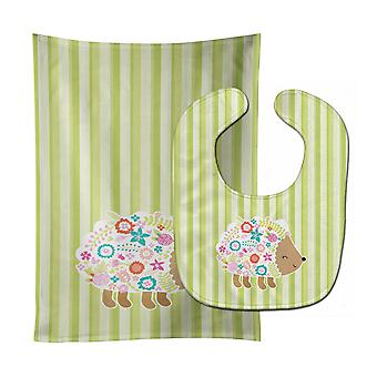 Carolines Treasures  BB6935STBU Flowered Hedgehog Baby Bib & Burp Cloth
