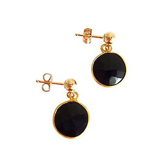 Gemshine - ladies - earrings - 925 Silver - gold plated - Onyx - Black - CANDY - 2 cm