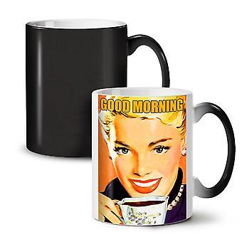Good Morning café noir nouveau coloris changeant thé café céramique tasse 11 oz   Wellcoda