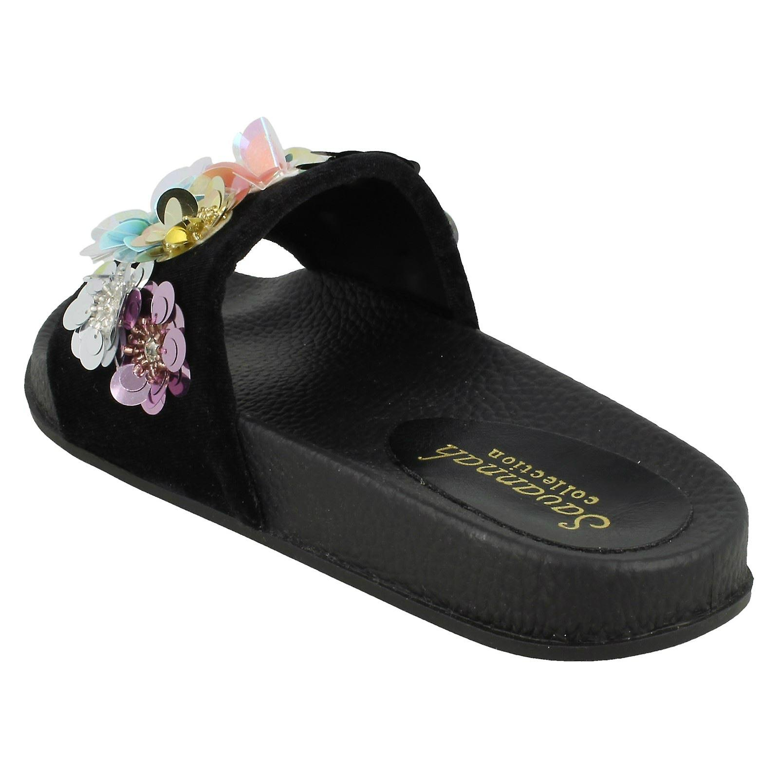 F00135 3 Ladies Black Size 5 Size Mules Sequin UK EU Slider 36 Flower Size Textile Savannah US wqYxvqpX