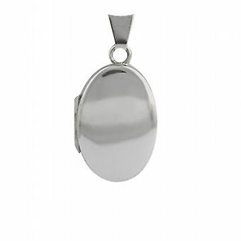 18ct White Gold 22x15mm oval plain Locket