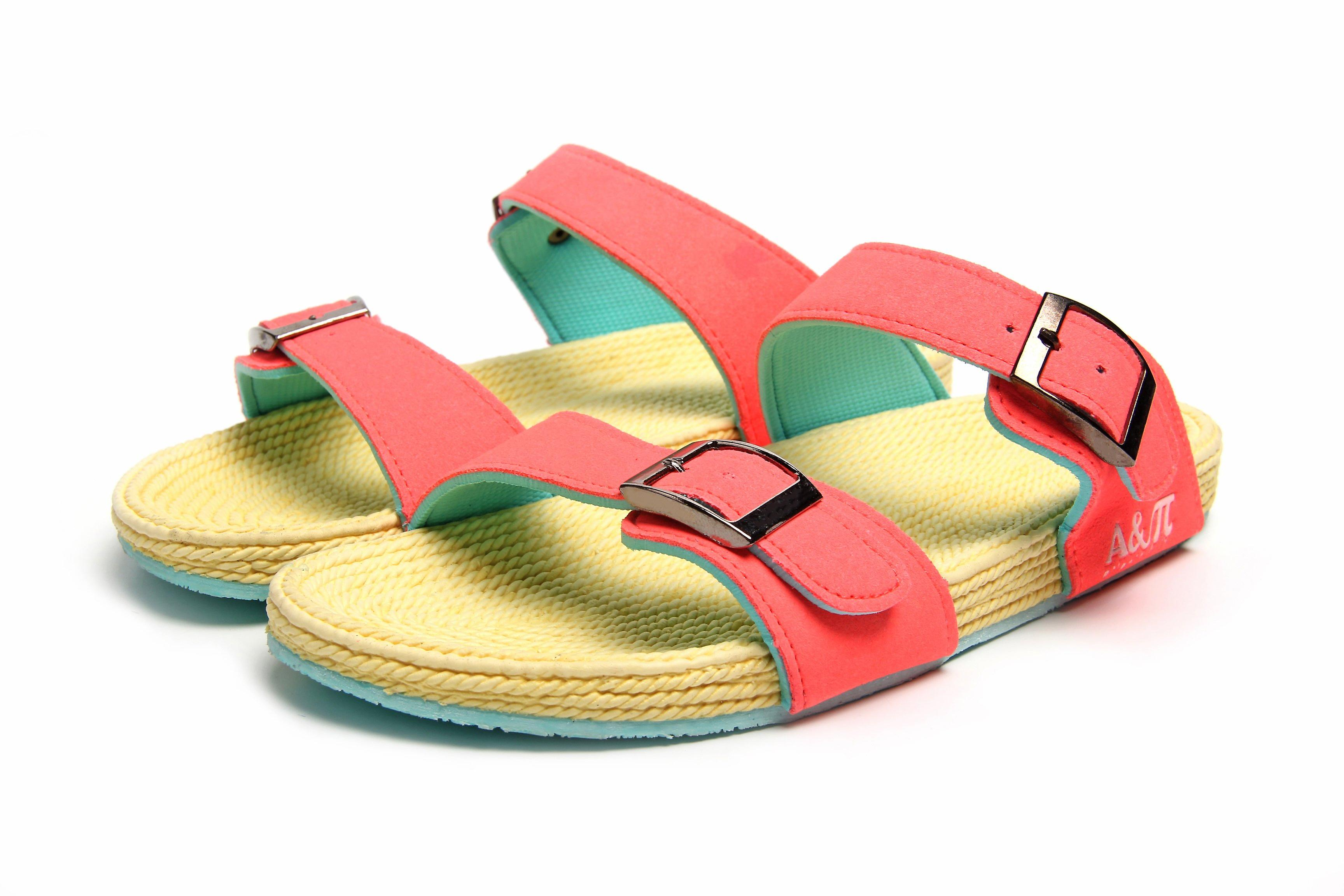 Atlantis Shoes Women Supportive Cushioned Comfortable Sandals Dual Band Pink-beige